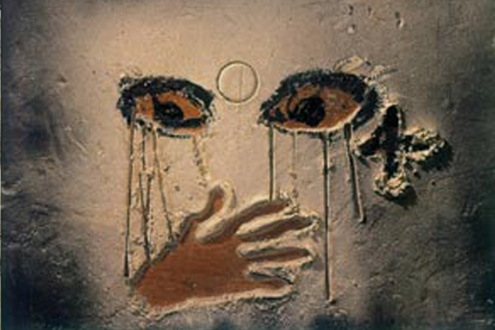 a painting by Antoni Tapies