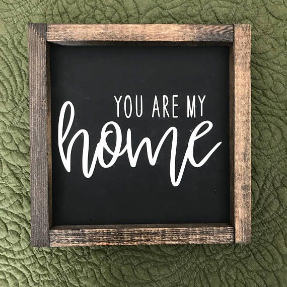Hand stenciled wood sign. Measuring approximately 10x10x1.5 Background is black, words are stenciled in white. Frame is a dark walnut stain. This farmhouse style sign is designed to sit on a shelf/countertop/table, but you could easily add a sawtooth hanger to the back. (It does not