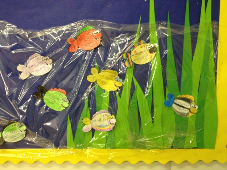 PY 2&3 Uke 8: Elevene har startet med nye lesebøker og vi lager bokfisk til lesetavla vår:) Hvor mange bøker tror dere vi klarer å lese før sommeren?:)