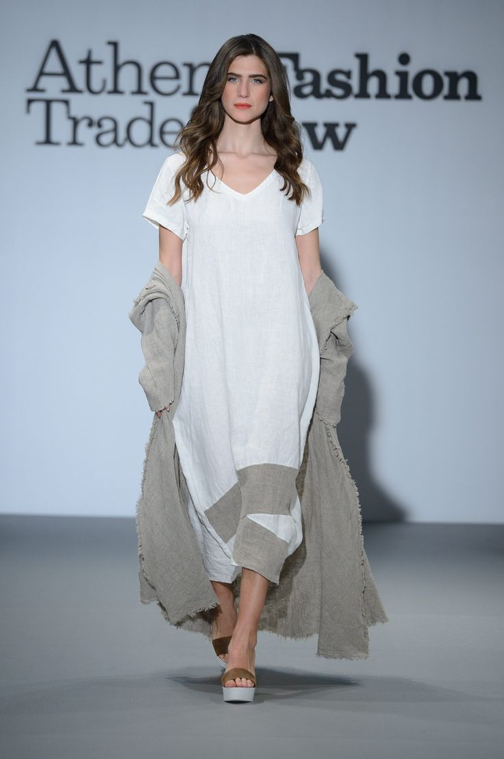 Elegant and stylish white long linen dress with natural linen patchworks. 100% natural fabrics