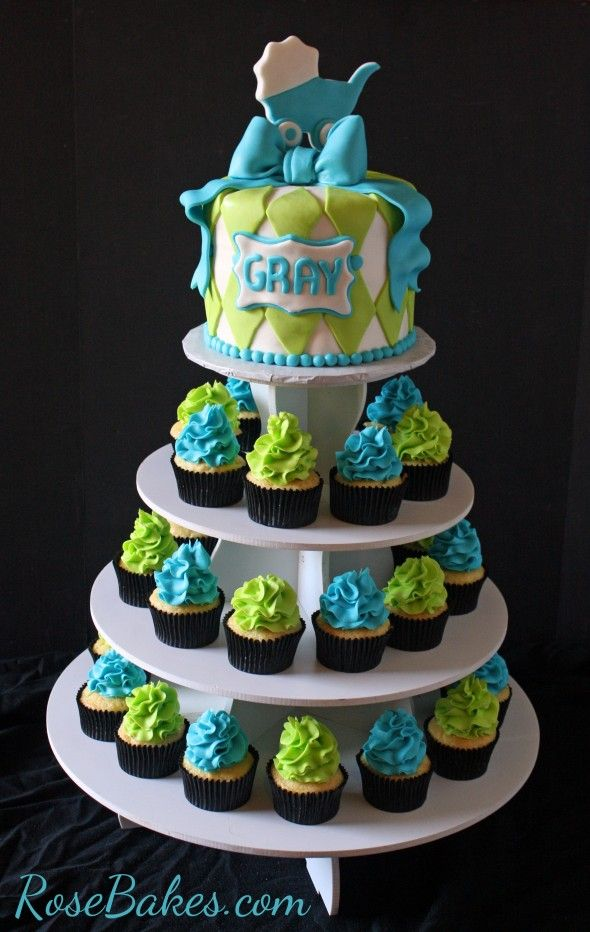 Turquoise & Lime Green Baby Shower cake and cupcake tower with carriage & bow topper