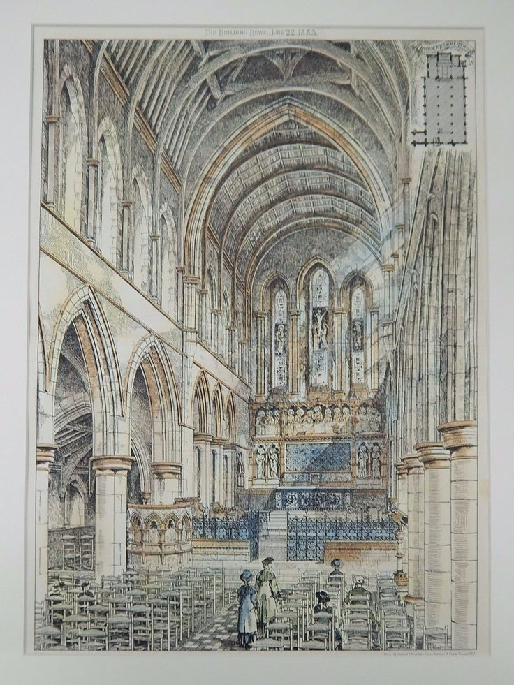 A Beautifully Detailed, Original Plan of the Interior of St. Thomas of Canterbury in Brentwood, United Kingdom. HAND-COLORED. Unknown, Architect. From the American Architect and Building News, June 22