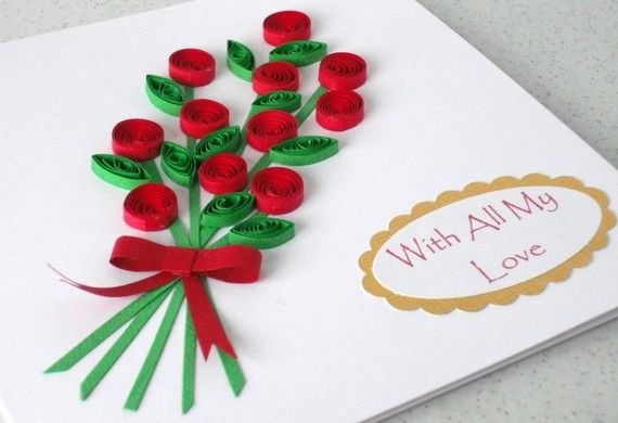 Etsy の Valentines card with quilling flowers by PaperDaisyCards