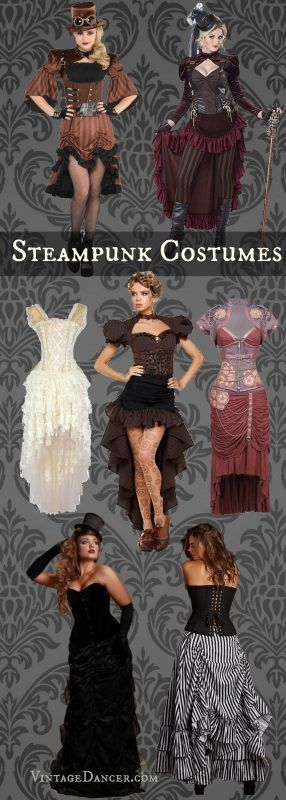 Steampunk costumes, Halloween costumes, clothing, outfit and fashion ideas. Best sellers from VintageDancer.com/steampunk