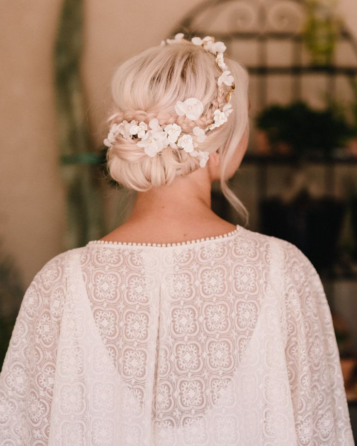 floral wedding up-do // bohemian wedding