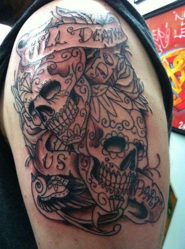 17 best ideas about skull couple tattoo on pinterest for Skull love tattoos
