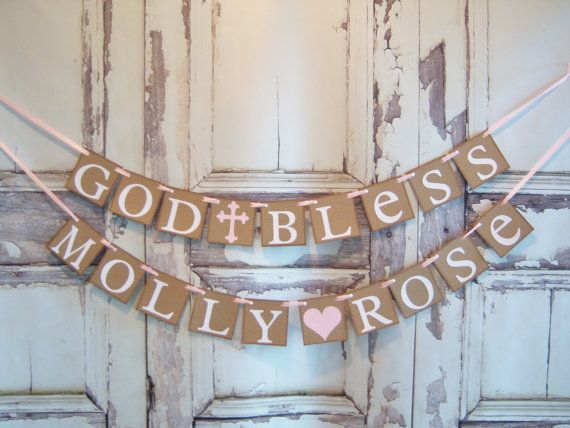 Baptism banner God Bless This Child personalized by lolaandcompany