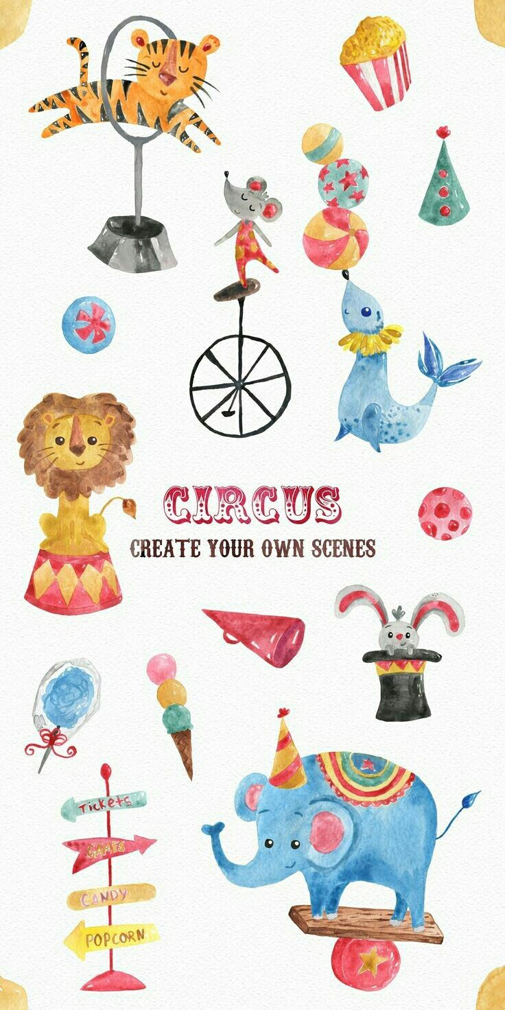 Pin By Malak Dubois On Things I Wanna Do Circus Illustration Watercolor Lion Watercolor Clipart