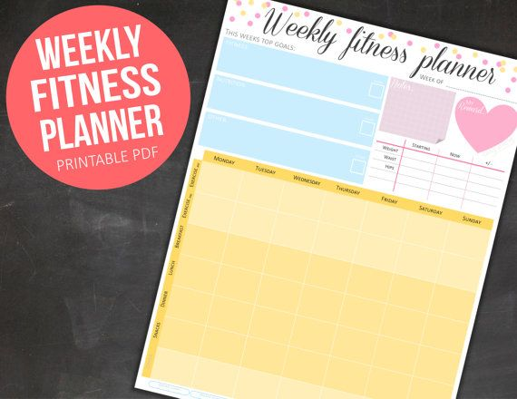 Your weekly fitness planner is here to make getting fit simple. With this 1 page printable you will no longer need oodles of different sheets for