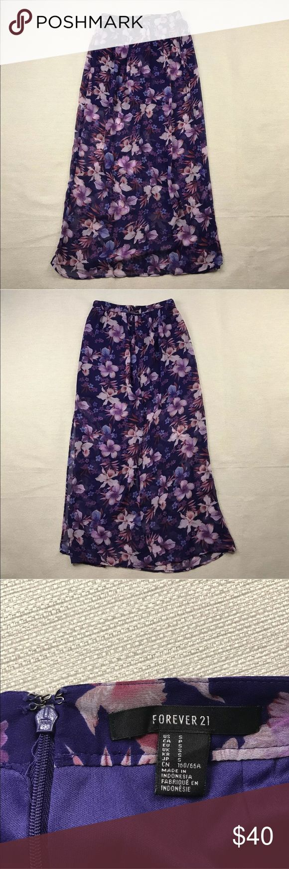 """Forever 21 Sheer Floral Maxi Skirt NWOT Forever 21 Sheer Floral Maxi Skirt NWOT  Floral pattern on the outside, mini skirt lining.  Back zip closure.  Women's Size: S  No flaws.  Measurements lying flat: Waist 13"""", Length 39"""".  Please, review pictures. You will get the item shown. Smoke & pet free home. Forever 21 Skirts"""