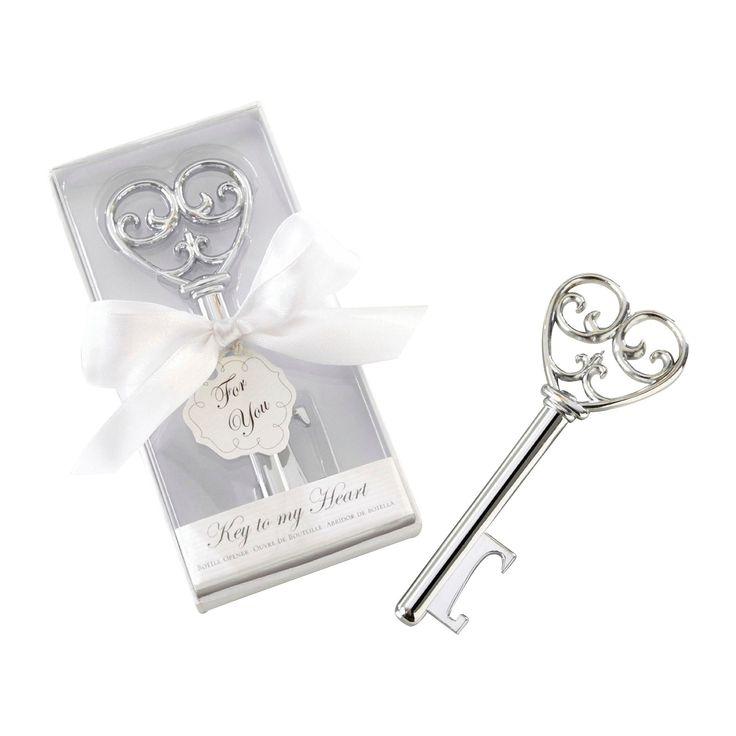 "12ct Kate Aspen ""Simply Elegant"" Key To My Heart Bottle Opener, Silver"