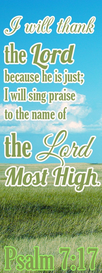 PSALM 7:17  I will praise the LORD according to his righteousness: and will sing praise to the name of the LORD most high.