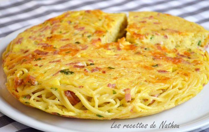 Gâteau de spaghetti aux lardons et cheddar
