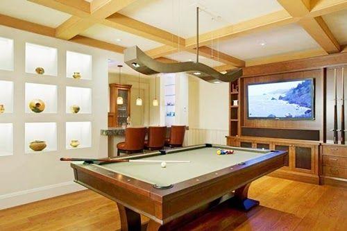 Billiard Room Design Ideas with Wood Tile Floor Unique Chandelier and Pendant Lighting
