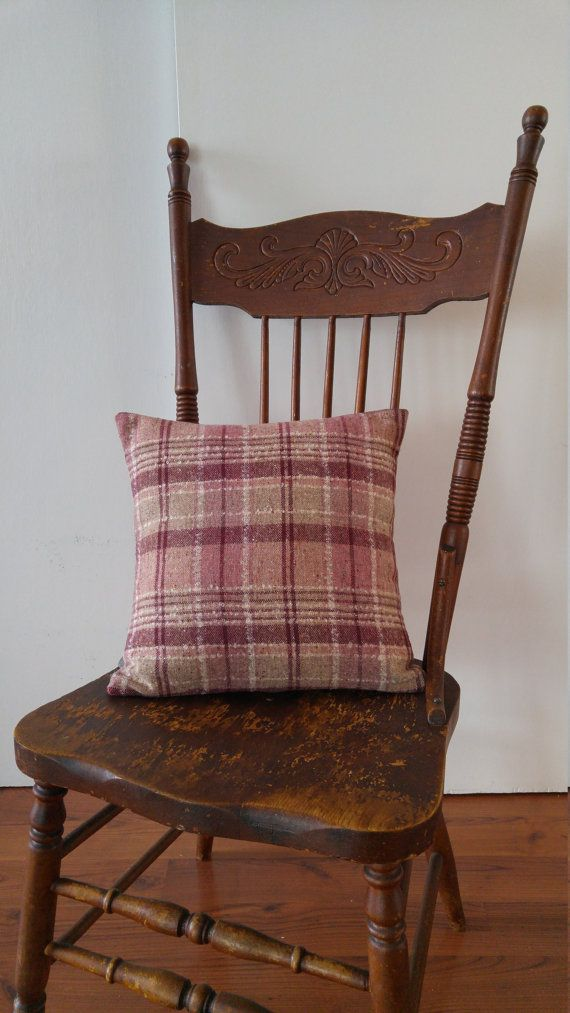 Burgundy Plaid Pillow Cover/ Handmade Beige and Maroon