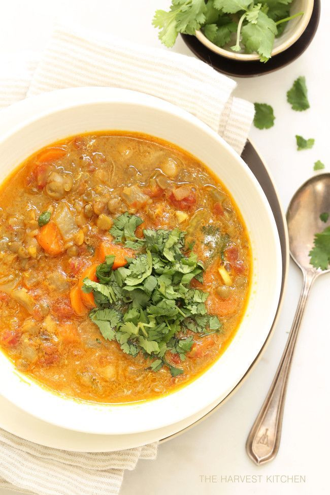 from The Harvest Kitchen / this Vegetarian Mulligatawny is loaded with lentils and chickpeas and has a great combo of flavors (light curry). @theharvestkitchen.com