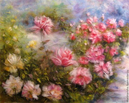 Картины цветов ручной работы. Ярмарка Мастеров - ручная работа. Купить Картина из шерсти  Розовый Сад. Handmade. Розы