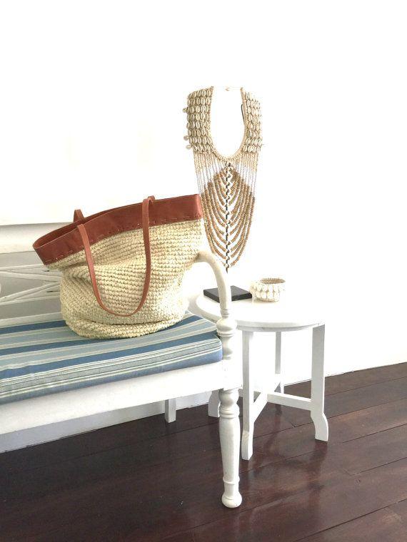 Natural Straw Handbag Straw Handbag with Leather by MOOSSHOP