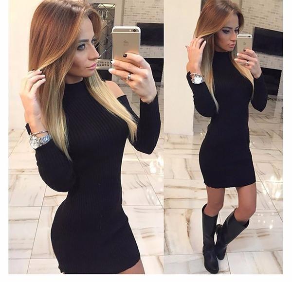 Black Rib Turtleneck Off The Shoulder Bodycon Dress