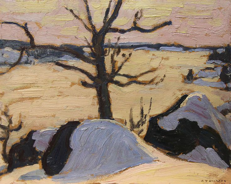 'Frozen Lake', 1920, oil on panel by Alexander Young Jackson at Mayberry Fine Art