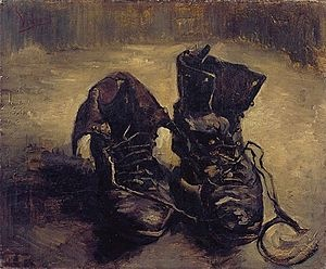 """A painting that reveals (alethe) a whole world. Heidegger mentions this particular work of Van Gogh's in """"The Origin of the Work of Art""""."""