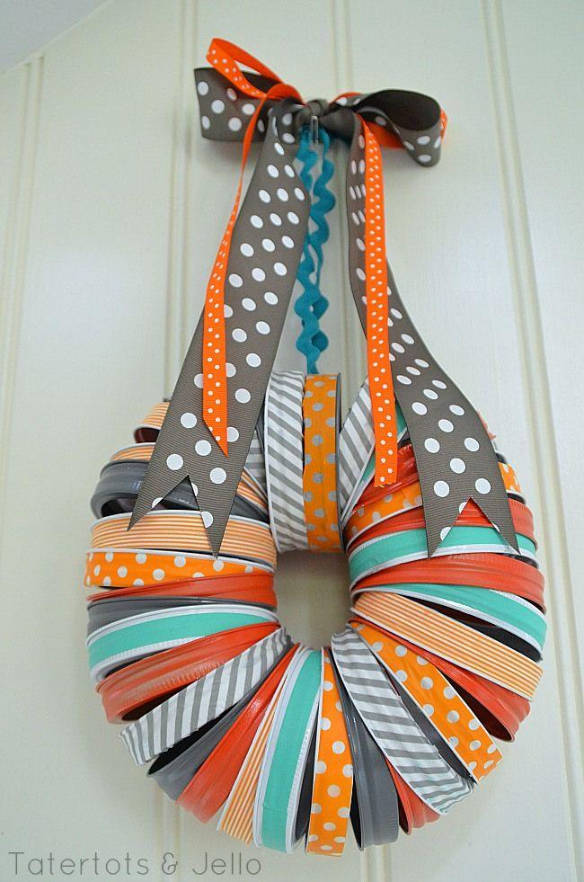 mason jar washi tape halloween wreath