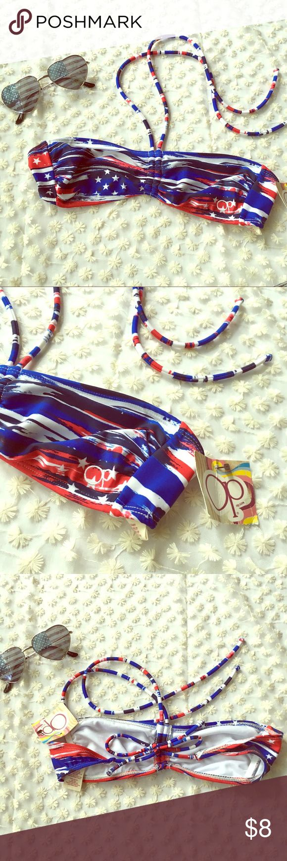 Patriotic Bikini bandeau top small flag stars Perfect for summer & the 4th of July 💙 size small. NWT. Bandeau top with tie halter & tie back. Swim Bikinis