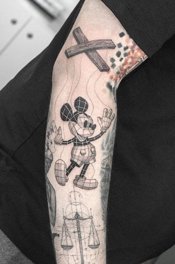 Black Gray Mickey Mouse Tattoo Mouse Tattoos Mickey Mouse Tattoo Tattoos