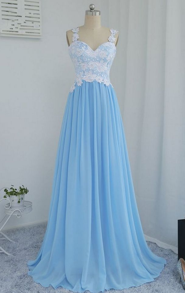 Blue Chiffon and Lace Long Party Dresses, Pretty