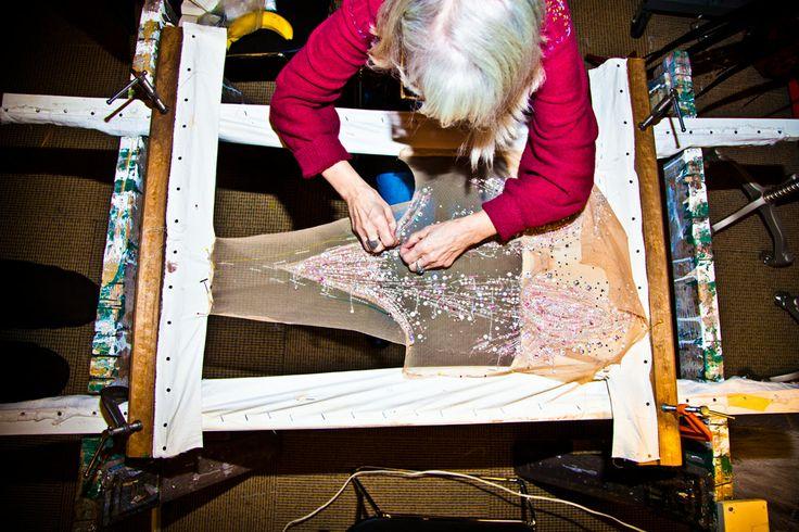 Artisan working on the 2013 Victoria's Secret Fashion Show customes made with Swarovski crystals #VSFashionShow Photographer Eli Schmidt
