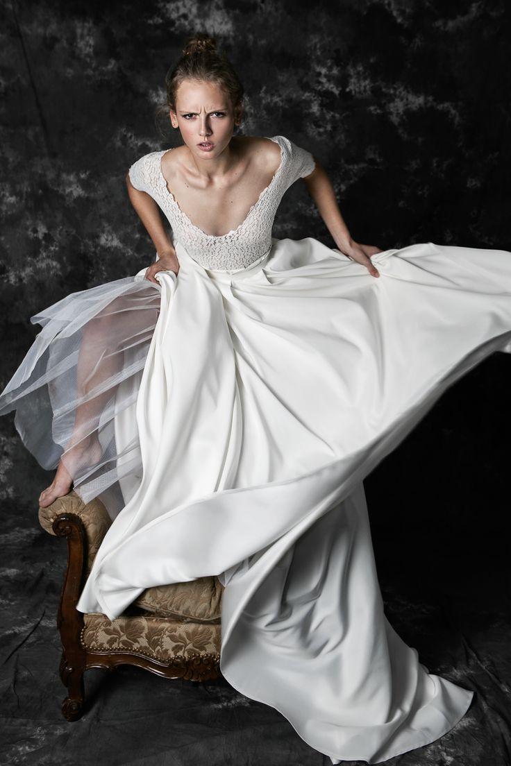 Pureza Mello Breyner Atelier - bridal dress in cotton lace and silk satin #bride #modern #lace #cotton #silk #romantic #bridal #dress #designer #satin #handmade #by #measure