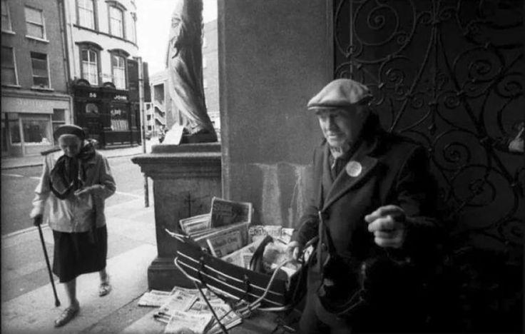 Newspaper seller at Whitefriar Street, Dublin