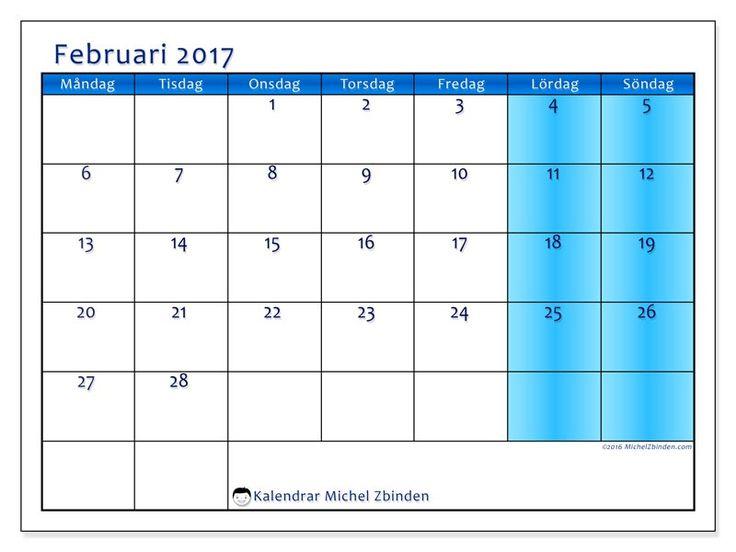 Kalender för februari 2017 för