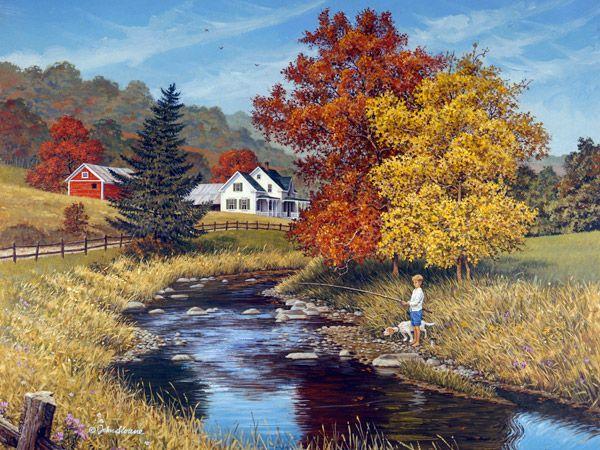 John Sloane-約翰·斯隆-美國畫家,他的精美作品表現了對四季變化.大自然的崇拜, 和享受鄉村生活, 老農場和農村的風景畫(第一輯)。。。 - ☆平平.淡淡.也是真☆  - ☆☆milk 平平。淡淡。也是真 ☆☆