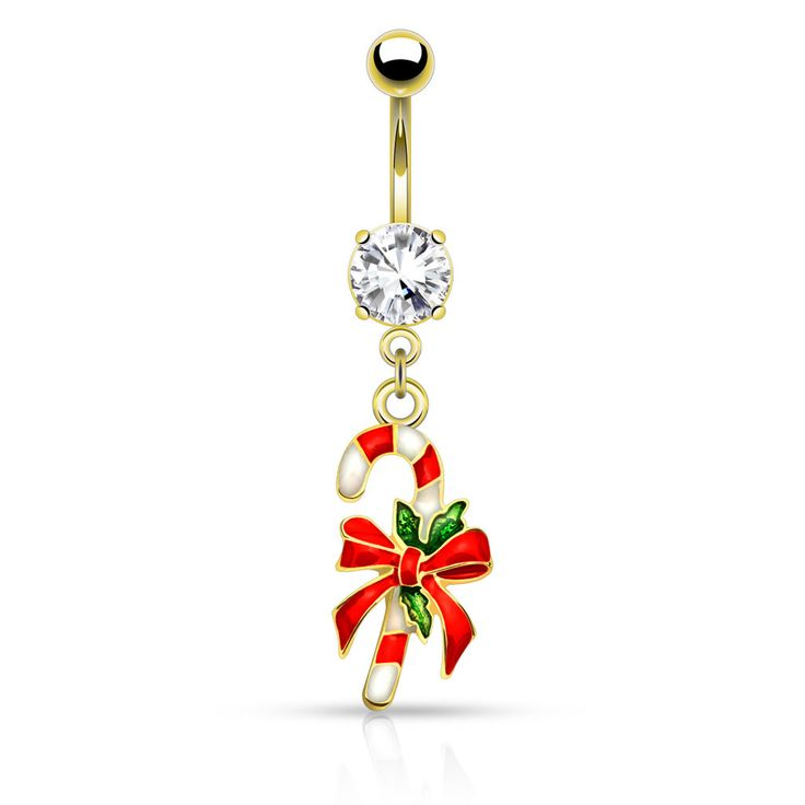 Gold Candy Cane Belly Button Navel Ring 14ga Surgical Stainless Steel