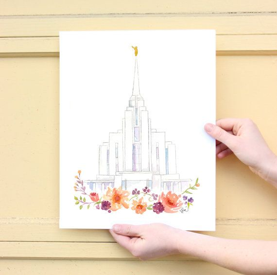 LDS temple watercolor Rexburg Idaho Rexburg LDS by SweetnSandy