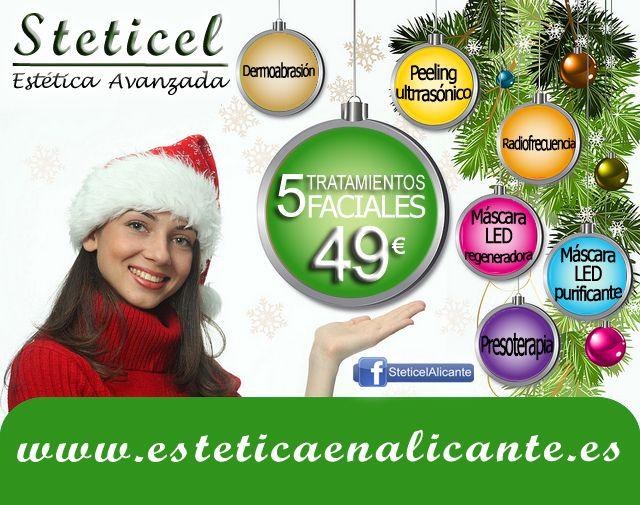 Tú eres la estrella de la Navidad.  Deslumbra con este completo pack de tratamientos faciales: 5 tratamientos por 49€  STETICEL, la belleza a tu alcance C/ Pintor Aparicio, 16 (esq, Arzobispo Loaces). 03003 Alicante 965 927 556 www.esteticaenalicante.es