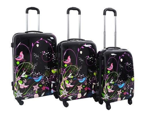 Bird & Garden Hard Case Shell 3PC Rolling Spinner Luggage Suitcase Set 4 Wheels #DejunoDJ9209 #LuggageSet