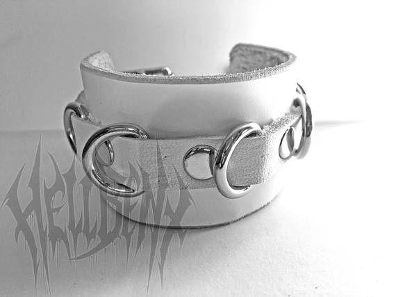 Hellbent Handmade White Leather D-ring Bracelet