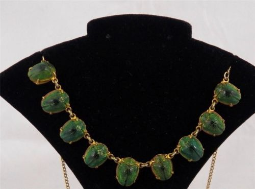 Authentic Victorian 9 Scarab Beetle Necklace The Real Deal
