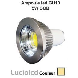 Ampoule GU10 LED COB 5W 45° variable Blanc chaud