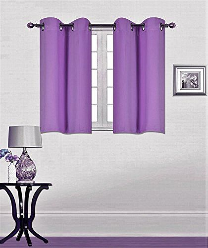 """Elegant Home 2 Panels Tiers Grommets Window Treatment Curtain Thermal Heavy Thick Light Filtering Blackout Drapes Short Panel 30""""W X 54""""L Each Solid Color for Small Windows # K54 (Lilac)"""
