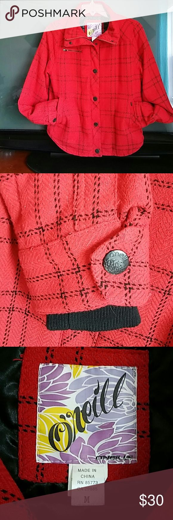 O'Neill lined jacket Red with black shirt tail insulated jacket Never worn O'Neill Jackets & Coats Lightweight & Shirt Jackets