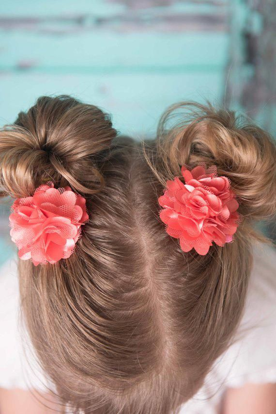 Coral Satin clips, 2 Coral flower clips, Toddler Hair Bows, flower hair clip, piggy tail hair clip, #Hairstyles2019