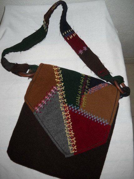 Wool Crazy Quilt Shoulder Bag by secondblush on Etsy, $38.00