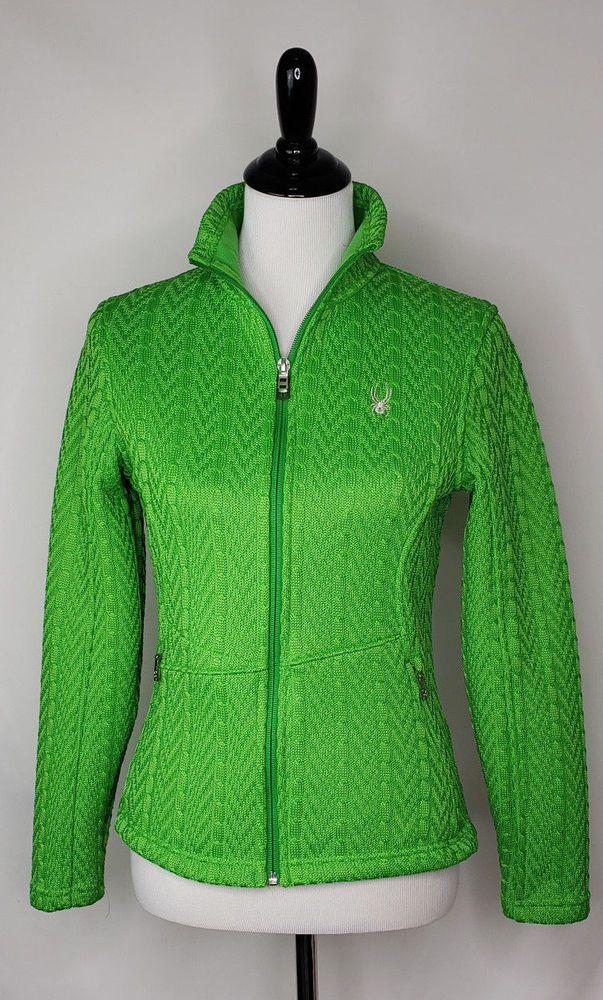 54bff62d52b3d8 SPYDER Womens Sz M Green Cable Knit Full Zip Mid Weight Core Jacket ~ EUC   Spyder