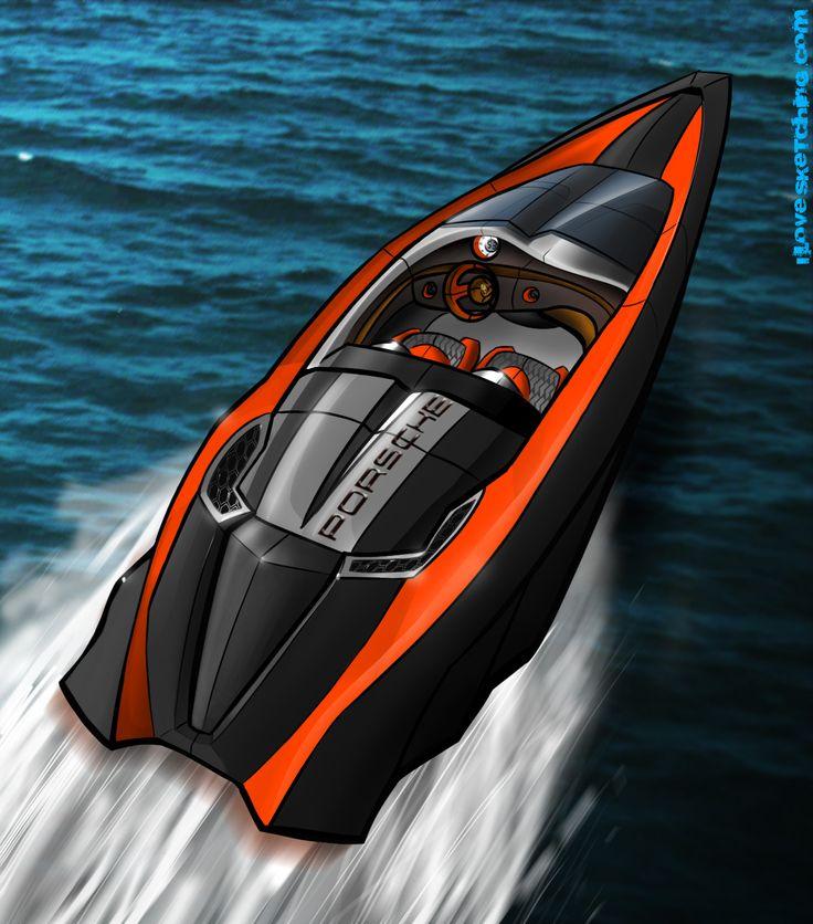 Porsche Speed-boat Concept Design Rendering