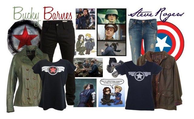 """Steve and Bucky"" by jawind ❤ liked on Polyvore featuring RoomMates Decor, Ted Baker, SELECTED and Barbour"
