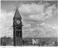 Historic photo from 1910 - City Hall clock tower in City Hall