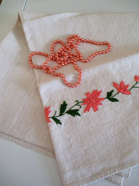 183. Vintage handloomed hand embroided pure flax linen towel